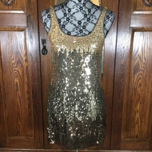 Express Gold Ombre Sleeveless Sequin Mini Dress